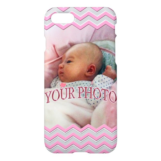 Your Photo iPhone Cases Pretty Pink, Grey Chevron