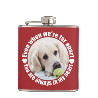 YOUR PHOTO & NAME Far Apart Love flask