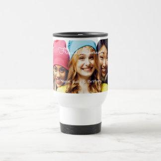 Your photo & names | pink gold black white stripes travel mug