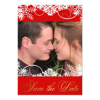 Your Photo Red & Gold Winter Snow Save the Dates Card