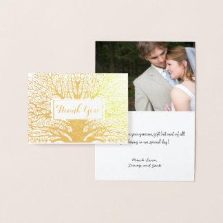 Your Photo Silver Foil Oak Tree Wedding Thank You Foil Card