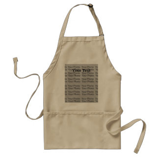 Your Photo & Text Khaki Standard Apron Template 2