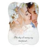 Your Photo Vintage Damask Black Font Wedding Custom Announcements