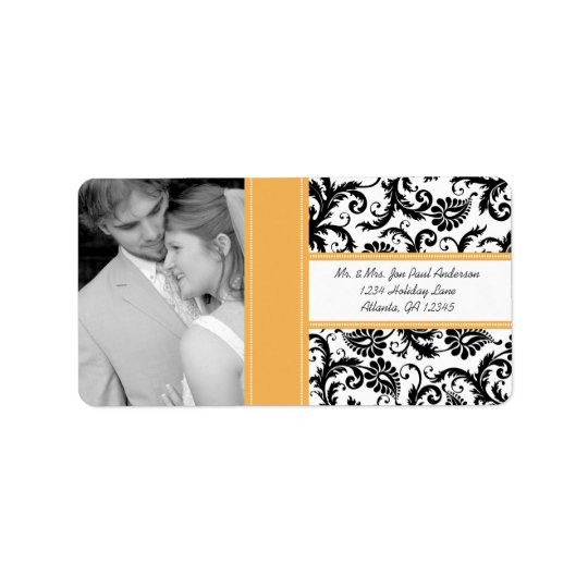 Your Photo Wedding Vintage BeesWax Damask Label