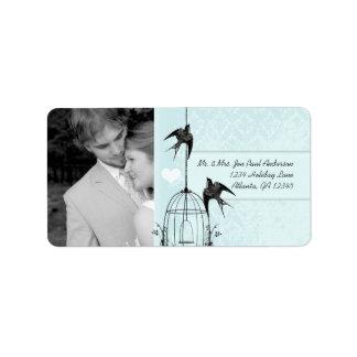 Your Photo Wedding Vintage Bird Cage Aqua Damask Label