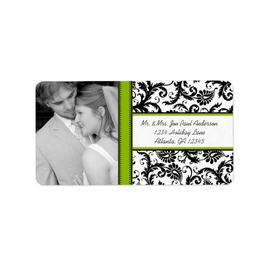 Your Photo Wedding Vintage Black Green Damask