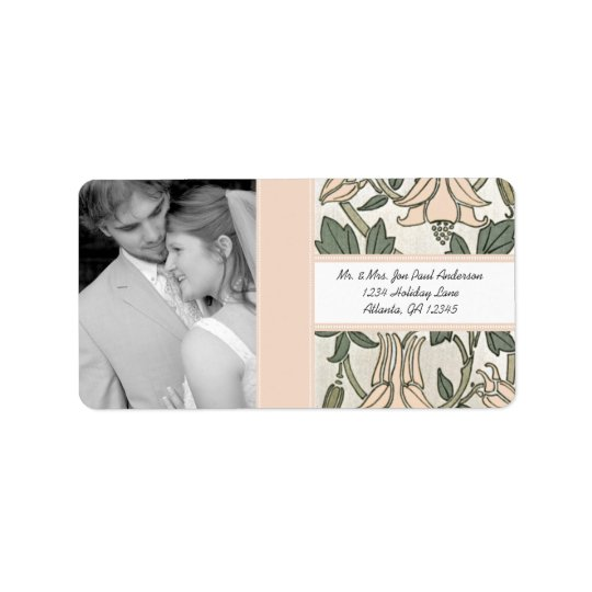Your Photo Wedding Vintage Silver Peony & Green Label