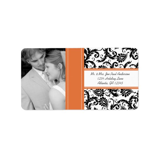 Your Photo Wedding Vintage Tangerine Damask Label
