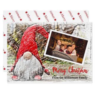 Your Photo With Christmas Gnome Christmas Card