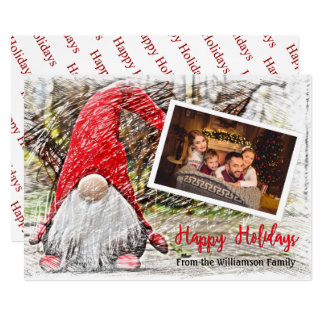 Your Photo With Christmas Gnome Happy Holidays Card