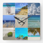 Your Photos Collage With Numbers Square Wall Clock