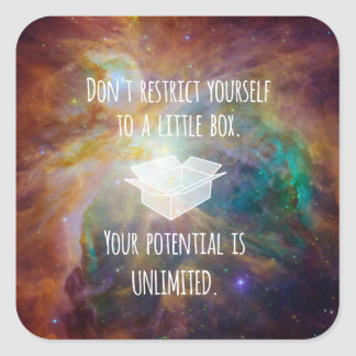 Your Potential is Unlimited Quote Galaxy Nebula Square Sticker