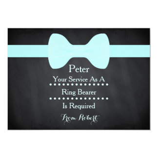 "Your service as a Ring Bearer Black Chalkboard Bow 5"" X 7"" Invitation Card"