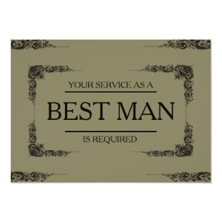 "Your Service Is Requested as Best Man Groomsman 5"" X 7"" Invitation Card"