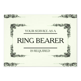 """Your Service Is Requested as Ring Bearer 5"""" X 7"""" Invitation Card"""