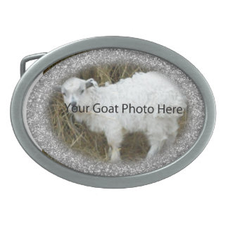 YOUR Silver Glitter Goat Photo Here  Belt Buckle