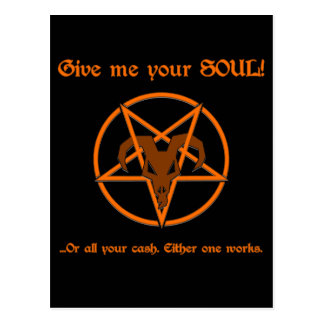 Your Soul Or Cash Satan Pentacle and Goat Humour Postcard