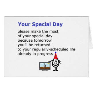 Your Special Day - a funny birthday poem Card