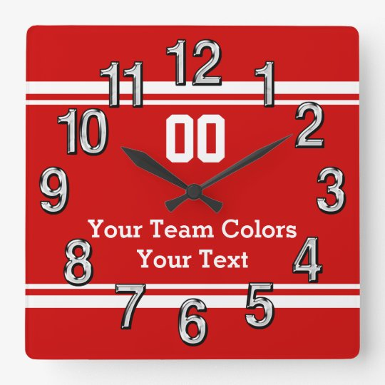 Your Team Colours and Text Sports Wall Clocks