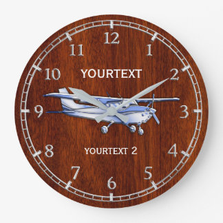 Your Text Aircraft Classic Cessna Flying on a Large Clock