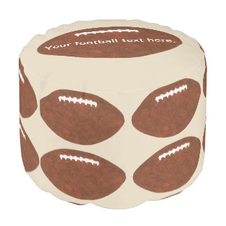 Your text, Football footballs themed sports pouf