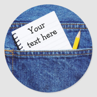 """""""Your Text Here"""" Notebook in Pocket Classic Round Sticker"""