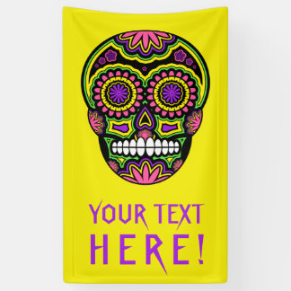 Your Text Mexican Sugar Skull Day Of The Dead Banner