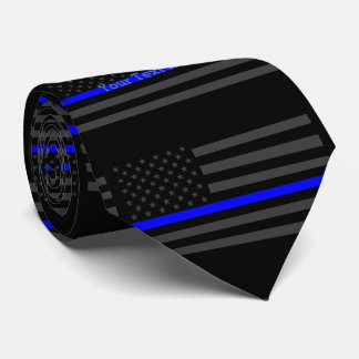 Your Text Thin Blue Line Custom Grey US Flag Tie