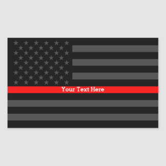 Your Text Thin Red Line Black US Flag Decor Sticker