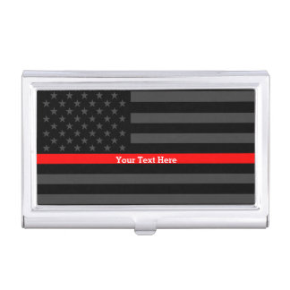 Your Text Thin Red Line Classy Black US Flag Business Card Holder