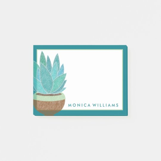Your Text | Watercolor Succulent Cactus Post-it Notes