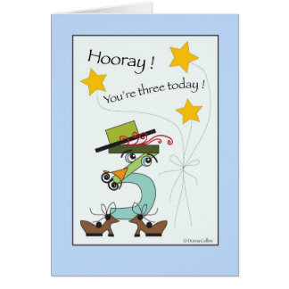 Your Three today Birthday Number Card