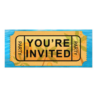 "Your Ticket to Summer Fun Party Invite! 4"" X 9.25"" Invitation Card"
