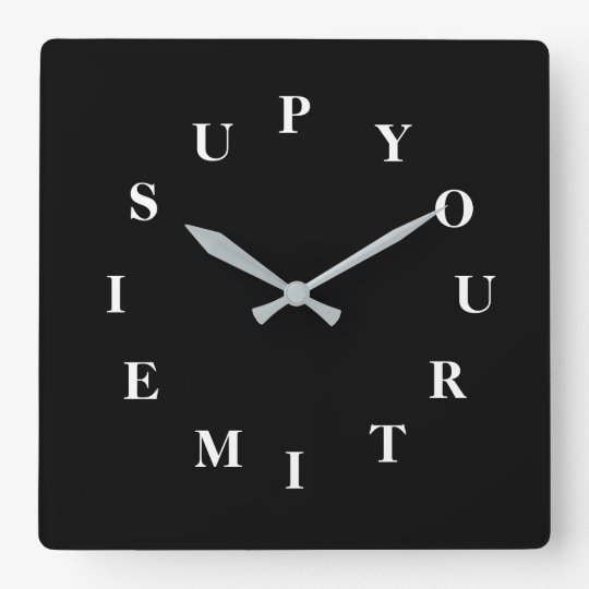 Your Time Is Up Black Wall Clock by Janz