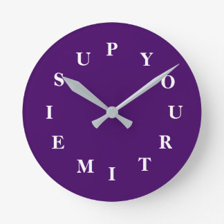 Your Time Is Up Purple Medium Clock by Janz
