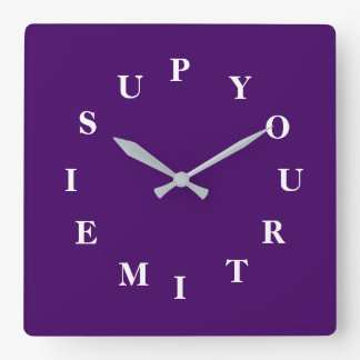 Your Time Is Up Purple Square Wall Clock by Janz