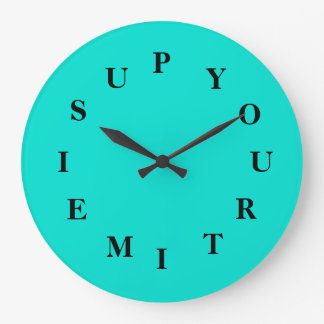 Your Time Is Up Turquoise Large Clock by Janz