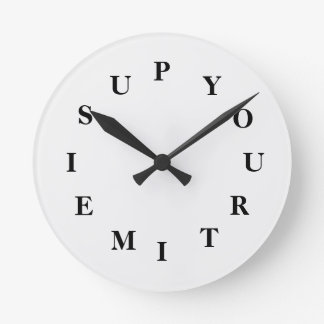 Your Time Is Up White Smoke Medium Clock by Janz