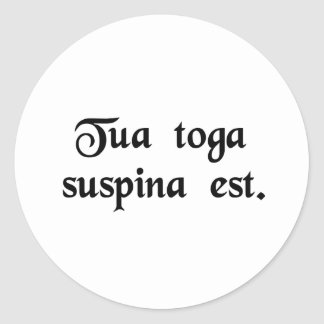 Your toga is backwards. classic round sticker