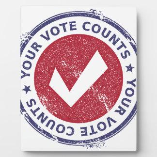 your vote counts plaque