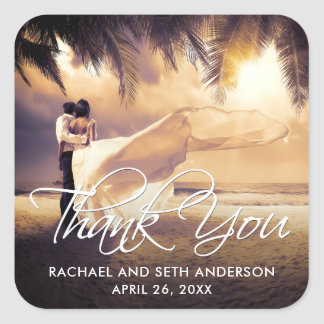 Your Wedding Photo Thank You Square Sticker