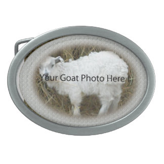 YOUR White lace Goat Photo Here  Belt Buckle