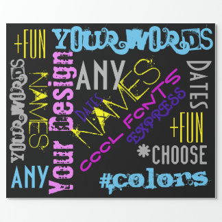 Your Words Custom Collage Black Gift Wrap colours