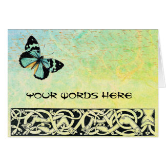 Your Words on Celtic Green Butterfly Card