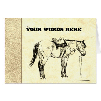 Your Words on Hand Made Paper with Horse Woodcuts Card