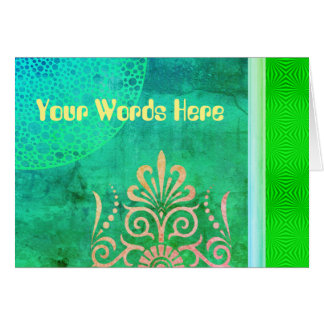 Your Words on Leafy collage with Woodcuts Card