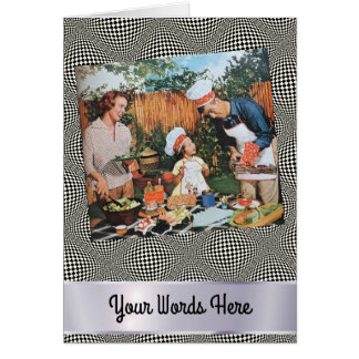 Your Words on Op Art Happy Family Picnic Card