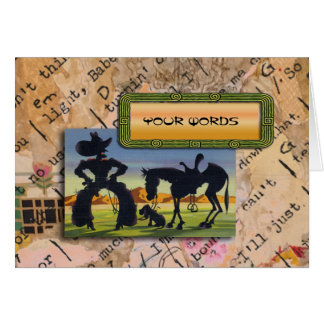 Your Words on retro cowboy caricature Card