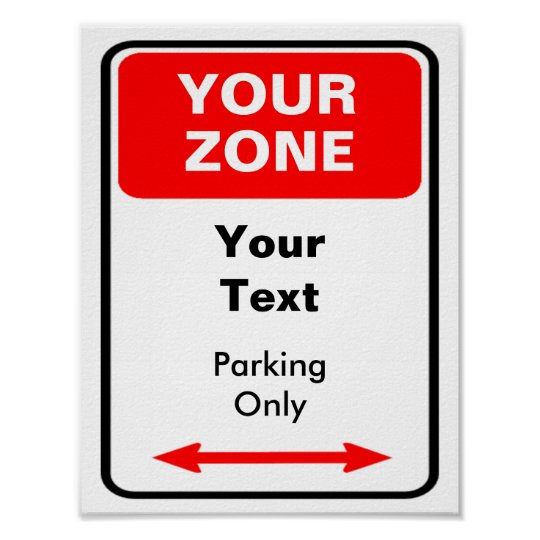 Your Zone Parking Sign Personalize