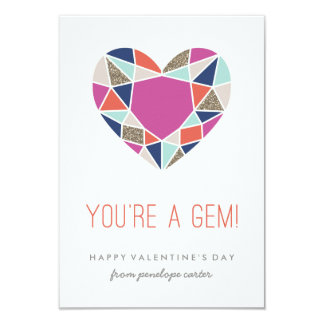 "You're a Gem Classroom Valentine - Cobalt 3.5"" X 5"" Invitation Card"